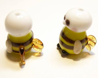 Two (2) Cherub Bumblebee Lampwork Beads - LOT UU
