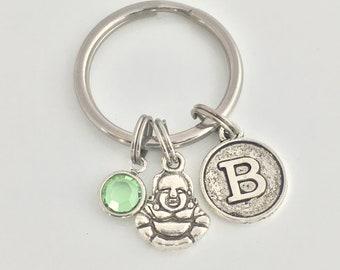 Buddha Keyring, Vintage Style Initial Letter, Personalized Keychain, Swarovski Birthstone, Spiritual Gift, Buddhism, Meditation, Zen Gift