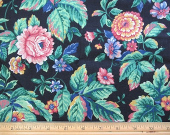 Purple and Mauve Floral on Black Background - 1/2 Yard  P-1/2-9
