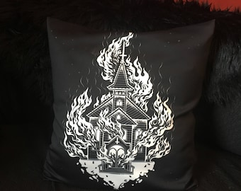 Satanic Church Burning Throw Pillow Cover