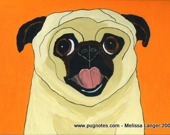 Pug Print - Happy Fawn Pug - A68