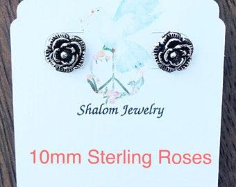 Sale Sterling Rose Stud Earrings, Sale 10mm Sterling Rose Stud Earrings, Sale Large Rose Silver Stud Earrings, Sale Silver Rose Studs