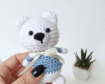 Tiny Bear Toy, Bear Amigurumi, Plush Art Animal, Crochet Bear, Handmade Small Bear, Baby Shower Gift
