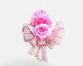 Pink floral corsage, Corsage for females, Pin on pink corsage, Corsage for special events, Prom corsage, Anniversary corsage, Wrist corsage