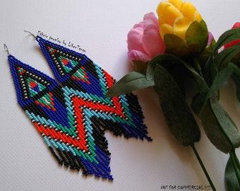 Beaded earrings, seed bead earrings, bead earrings, native beaded earrings, long beaded earrings, fringe earrings, dark blue beaded earrings