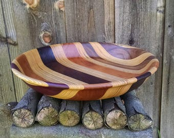 SOLD - Wooden Bowl - Wood Bowl - Home Decor - Large Hand Turned Wood Bowl - Sunset Turnings