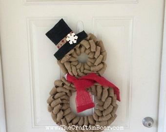 Snowman wreath - Burlap wreath - Christmas wreath - Snowman burlap wreath - Snowman decor - Snowman - Rustic snowman - Winter decor - burlap