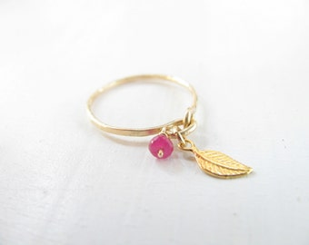 Gold ring, Ruby ring, gold leaf charm ring, winter jewelry, stacking ring, hammered, thin ring, bridesmaid ring