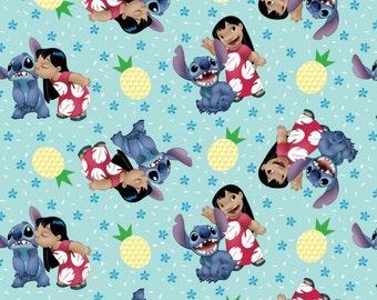 "Disney, Lilo & Stitch, ""Ohana Means Family"" on Blue, Cotton fabric, 1 yard"