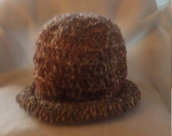 Rolled brim hat in shades of brown