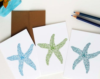 Beach Gifts, Lime Green , Aqua, and Turquoise Starfish Notecards, Set of Nine