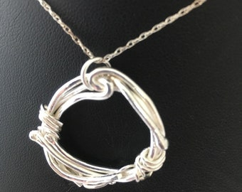 Entwined Strands Silver Pendant