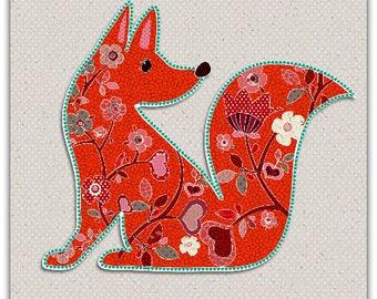 Double 'Fox' original design handmade 15cm x 15cm