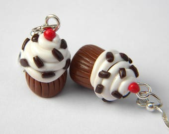 Chocolate vanilla cupcake earrings