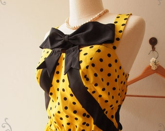 Pretty Lady Bow Dress Yellow Black Polka Dot Dress - in Size M