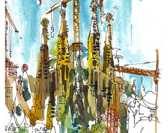 Sagrada Familia by Gaudi, Barcelona Cathedral- archival print from an original sketch