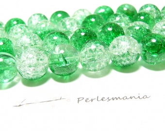 3 two-tone green 14mm 2G 3970 Crackle glass beads