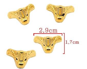 Gold tone foot model B size 2, 9 x 1, 7 cm finish box, box. Set 4 Pieces.