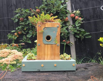 Upcycled Bird house with planters
