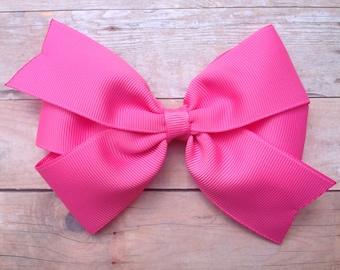 5 inch hair bow - pink hair bow, hair bows, hair bow, hair clips, bows, hair bows for girls, baby bows, toddler hair bows, girls hair bows