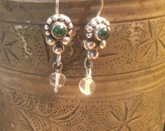 Vintage Green Onyx Earrings...Sterling Silver Earrings...Handcrafted...Ethnic...Gypsy...Hippie...Vintage Shop