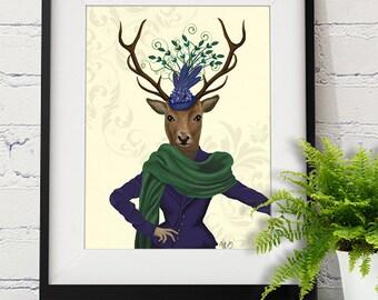 Deer Print - Deer and Fascinator  - Deer picture Deer wall art Deer poster Woodland deer glamorous wall art gift for sister birthday