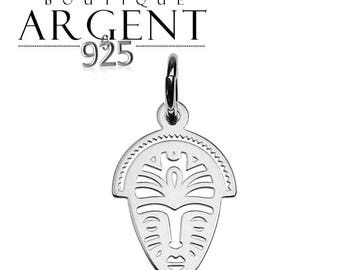 Ethnic African mask 17 mm 925 Silver Pendant