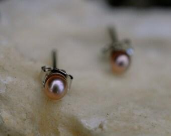 3mm Pearl Stud Earrings Sterling Silver Studs - Small & Discreet 4sKMUfmwK