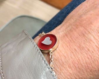 Heart Bracelet. Red Heart Glass Bracelet. Valentine's Day Gift. Sterling Silver heart Bracelet. Silver Magnetic Bracelet. Pin it if you like