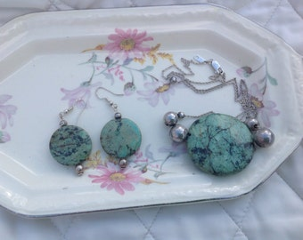 African Turquoise Sterling Beaded Necklace and Earrings