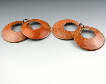 Enameled Domed  Hoops  /  Autumn Enamel  / Made to Order
