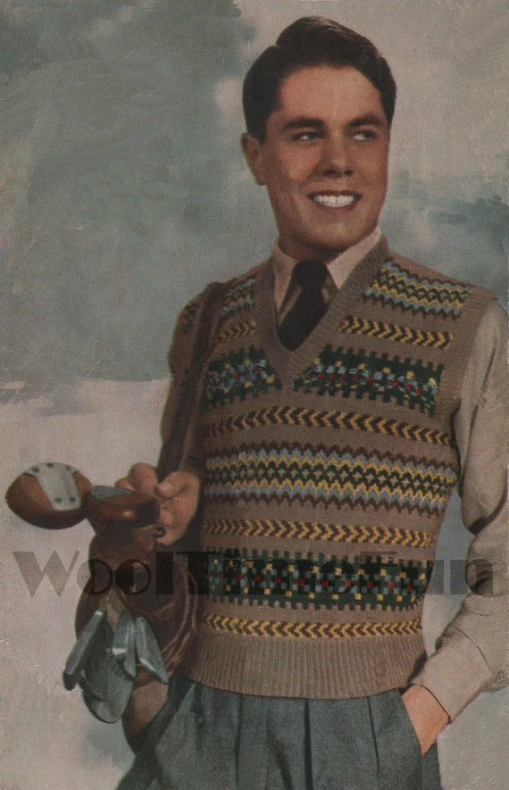 Vintage Knitting Pattern Mens Classic Fair Isle Vest/Tank Top/Slip Over. 34 to 38 inch chest if knitted in 3ply wool.