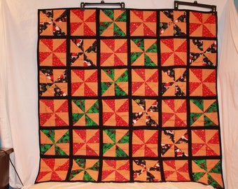 Handmade Christmas Lap quilt or Wallhanging