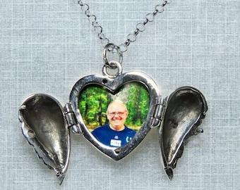 Custom Photo Memory Sterling Angel Wing Heart Pendant