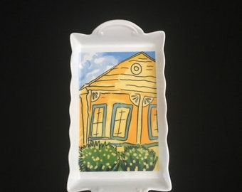 """8"""" Porcelain Yellow Shotgun House Sink Tray - Desk Accessory - Candy Dish - Spoon Rest - Beauty Tray - Ashtray"""