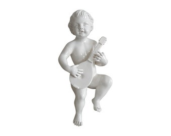 Vintage Porcelain Putto Playing Mandolin