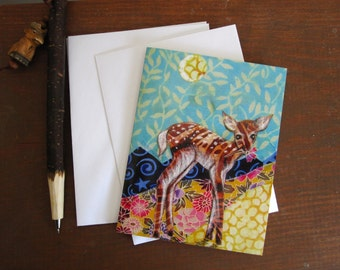 Baby Deer, illustrated blank card, spring fawn floral,  glossy finish