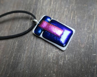 Pink/Purple and Blue Dichroic Glass Necklace