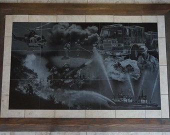 Fire Services Granite Tile Floor Mural 3' x 5' ~ Custom Engraving ~ Other Sizes Available!