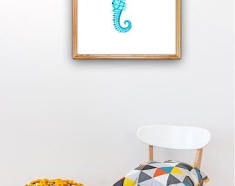Seafoam seahorses Mr and Mrs Seahorse , Bathroom Wall decor A3 plus  poster SAS053A3P