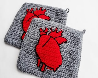 Anatomical Heart Potholders in Red and Black on Grey, Human Heart for Valentines Day, Wedding Gift, Housewarming Macabre Goth Home Decor