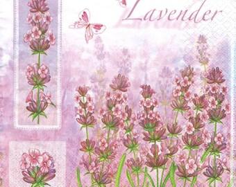 4 Decoupage Napkins, Paper Napkin for Decoupage, Lavender, Craft Napkin, Lavender Napkin, Decoupage Paper