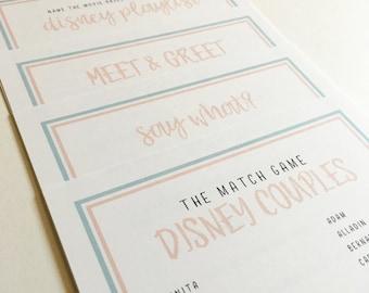 Disney Inspired Bridal Shower & Bachelorette Party Game Pack of 5 | Instant Download for DIY Printing | Walt Disney World, Disneyland Brides