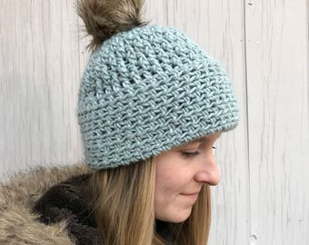 Crochet Pattern Pom Pom Hat Toque PDF: The Frankie Hat