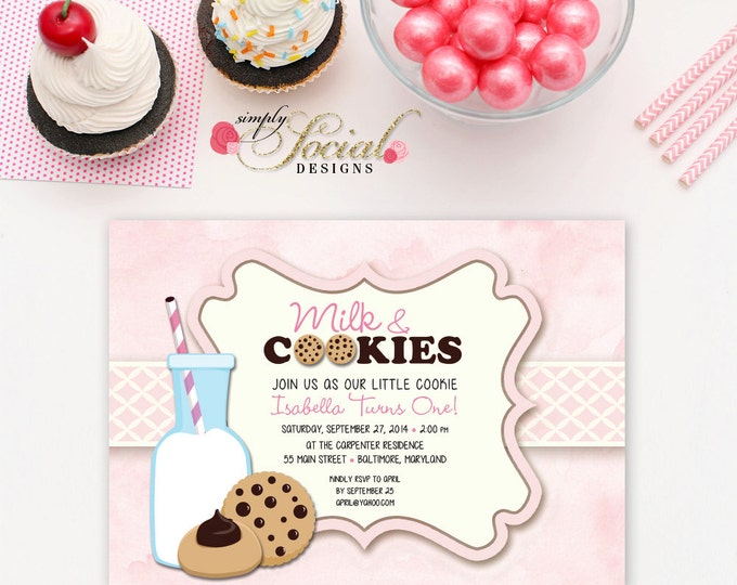 Milk and Cookies Birthday Party Invitation Pink Girl First Birthday Kids Printable