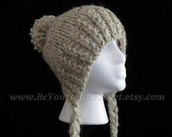 CLEARANCE SALE* Hand Knit Slouchy Ear Flap Hat- Split Brim- Braids