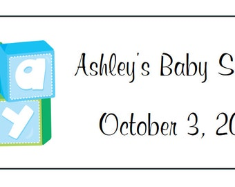 60 Personalized Baby Boy Blocks Return Address Labels