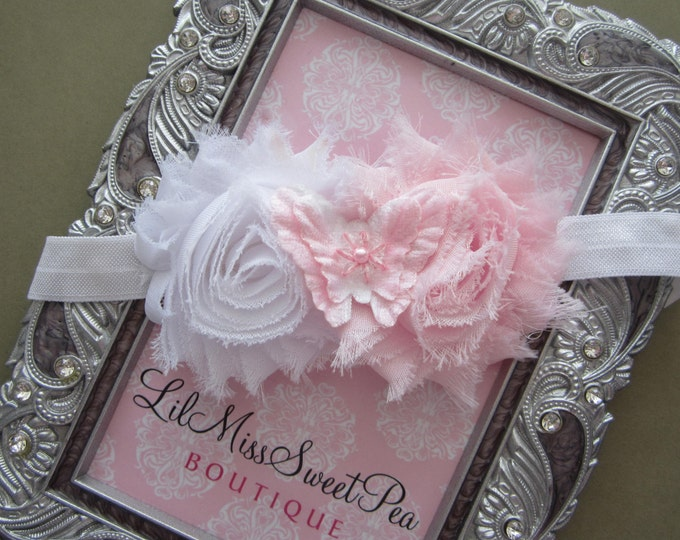 Pink and white shabby butterfly headband, baby headband, toddler, baby girl, by Lil Miss Sweet Pea