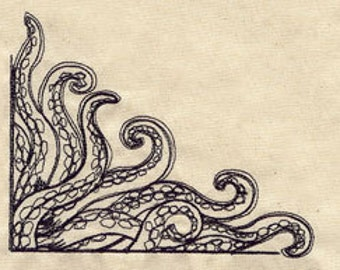 Tentacles Embroidered Flour Sack Hand/Dish Towel