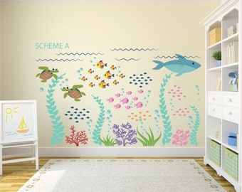Elegant Ocean Decal   Ocean Wall Decals   Fish Decal   Removable Wall Decals   Kids  Wall